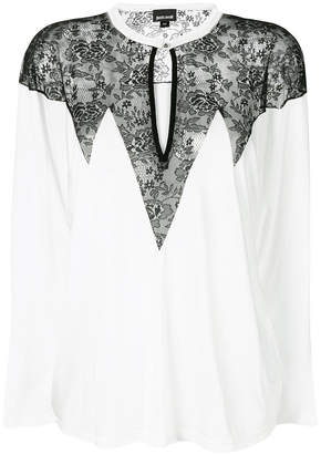 Just Cavalli lace panel long sleeve blouse
