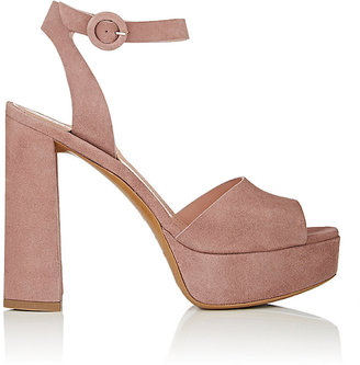 Barneys New York Women's Suede Ankle-Strap Platform Sandals $350 thestylecure.com