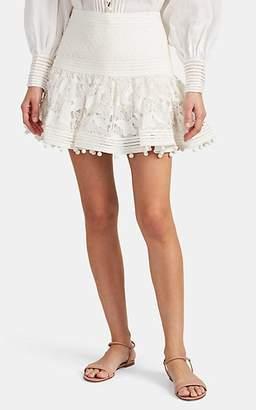 Zimmermann Women's Corsage Pom-Pom Floral-Eyelet Skirt - White