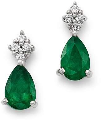 Bloomingdale's Emerald & Diamond Teardrop Earrings in 14K White Gold - 100% Exclusive