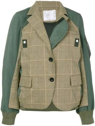 Sacai hybrid check blazer bomber jacket