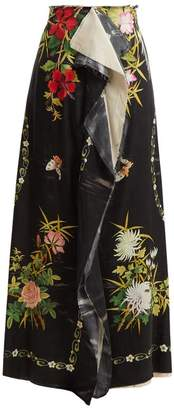 By Walid - Rawan Wisteria Print Skirt - Womens - Black Print