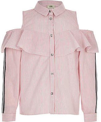 River Island Girls Red stripe cold shoulder shirt