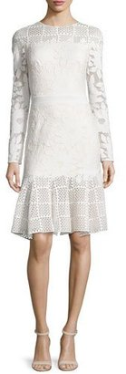 Tadashi Shoji Long-Sleeve Mixed-Media Dress, Ivory/Primrose $488 thestylecure.com