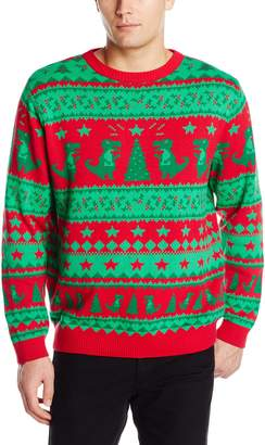 Alex Stevens Men's Traditional Dinosaur Fairisle Sweater