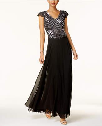 J Kara Hand-Beaded Sequined Gown