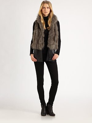 Saks Fifth Avenue Collection Convertible Fox-Fur Vest