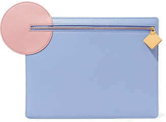Roksanda Aplin Color-block Textured-leather Pouch - Light blue