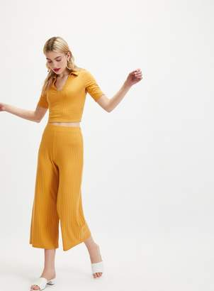 Miss Selfridge Ochre Cropped Ribbed Wide Leg Trousers