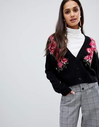 Asos DESIGN floral cropped cardigan
