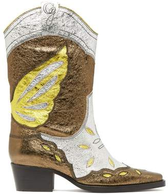 Ganni High Texas Metallic Leather Western Boots - Womens - Silver Multi