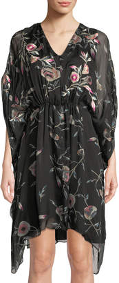 Natori Caftan Floral Print Silk Dress