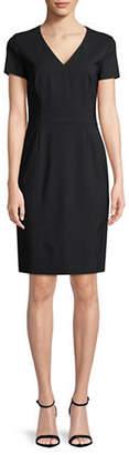 HUGO Koliva V-Neck Wool-Blend Sheath Dress