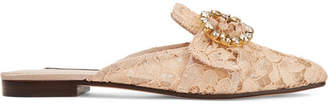 Dolce & Gabbana Crystal-embellished Corded Lace Slippers - Peach