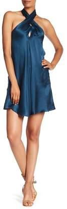Amanda Uprichard Roberta Pleated Silk Halter Dress