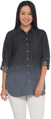Joan Rivers Classics Collection Joan Rivers Petite Length Denim Shirt with Sand Wash Detail