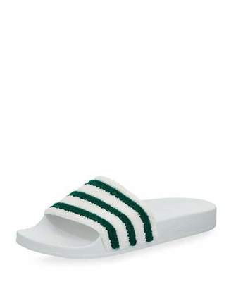 Adidas Adilette Striped Slide Sandal, White/Green $45 thestylecure.com