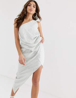 Asos Design DESIGN one shoulder drape mini dress in abstract animal jacquard