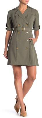 Sharagano Roll Sleeve Double Breasted Trench Dress