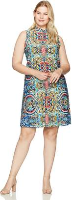 Tiana B Women's Plus Size Paisley Printed Trapeze Dress