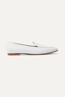 Aquazzura Purist Croc-effect Leather Loafers - White