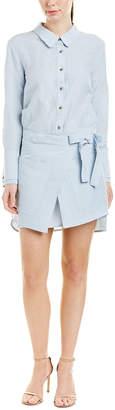 Halston Linen-Blend Wrap Dress