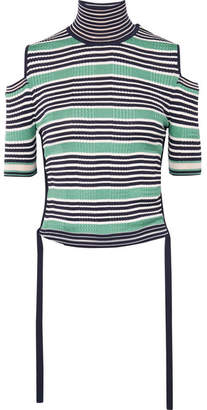 Fendi Cold-shoulder Striped Silk-blend Top - Green