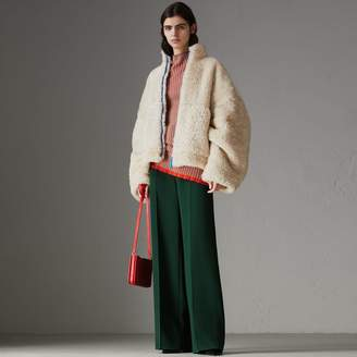 Burberry Contrast Zip Shearling Funnel-neck Jacket