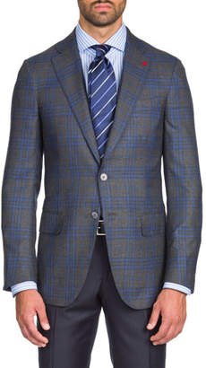 Isaia Men's Two-Tone Plaid Cashmere/Silk Two-Button Jacket