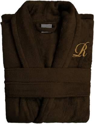 Luxor Linens Anini Bamboo & Cotton Monogram Spa Robe