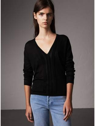 Burberry Pintuck Detail Cashmere V-neck Sweater