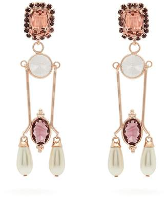 Erdem Crystal and faux pearl-embellished drop earrings