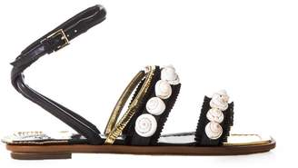 Tory Burch Sinclair Embellished Leather Flats