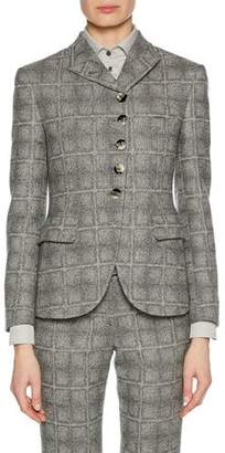 Giorgio Armani Asymmetric 5-Button Check-Pattern Wool-Blend Novelty Jacket