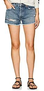 Solid & Striped x RE/DONE Women's Malibu Distressed Denim Shorts - Md. Blue