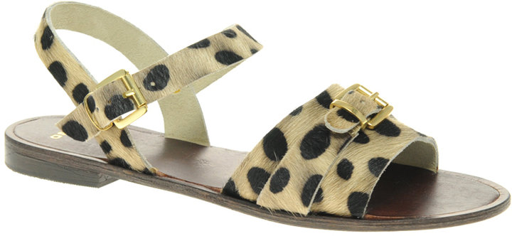 Asos FEARNE Leather Flat Sandals with Buckle Detail