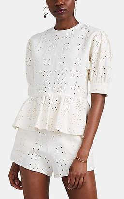 SIR the Label Women's Cherie Linen Eyelet Blouse - White