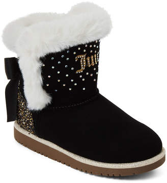 Juicy Couture Toddler Girls) Black & White Lil Burbank Faux Suede Boots