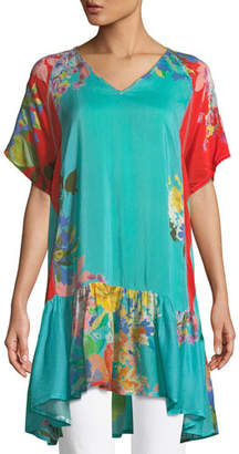 Johnny Was Happy Short-Sleeve Printed Flounce Tunic, Plus Size