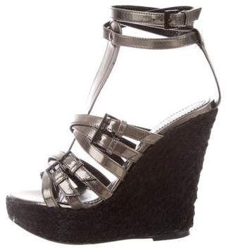 Burberry Leather Round-Toe Wedges