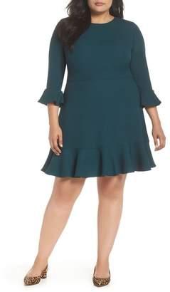 Eliza J Bell Sleeve Fit & Flare Dress (Plus Size)