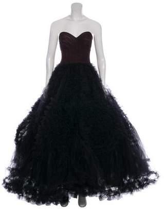Oscar de la Renta Ruffle-Trimmed Strapless Gown