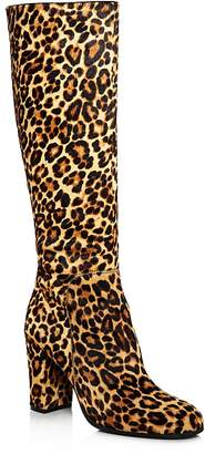 Kenneth Cole Women's Justin Round-Toe Leopard Print Calf Hair High-Heel Boots