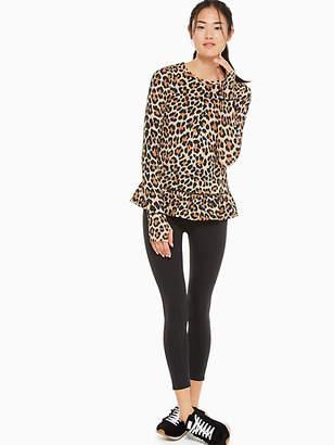 ebb3f976b548 Kate Spade Leopard-print Ruffle Hem Top, Roasted Peanut - Size M