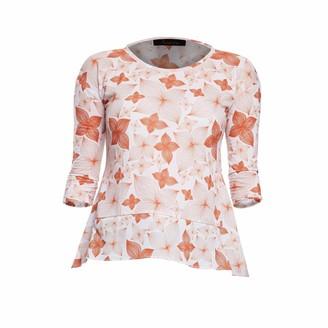 94b4f0b91560 Philosofée By Glaucia Stanganelli Burnt Orange Floral Print Back Pleat  Modal T-Shirt