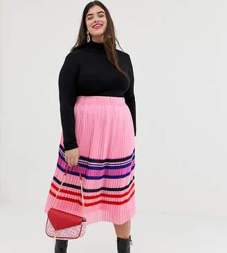 Junarose stripe pleated midi skirt
