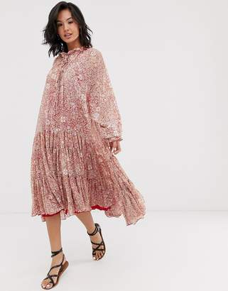 99207968 Free People feeling groovy tiered floral maxi dress