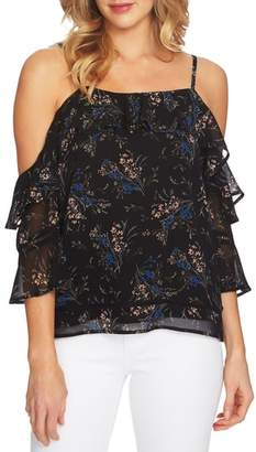 CeCe Cold Shoulder Dancing Top