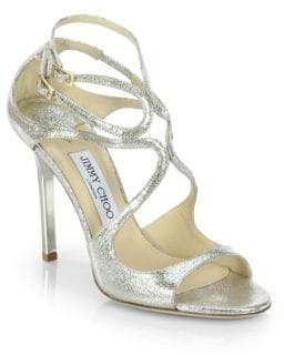 Jimmy Choo Lang Crackled Mirror Leather Sandals