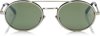 Jimmy Choo JEFF Green Mirror Oval Sunglasses with Gold Metal Frame and Black Temple Ends